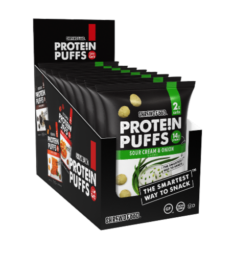 Shrewd Food Sour Cream & Onion Protein Puffs Perspective: front