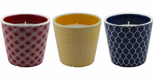 Patio Essentials Geometric Pattern Citronella Candle - Assorted Perspective: front