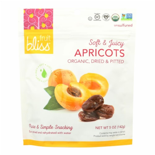 Fruit Bliss - Organic Turkish Apricot - Apricot - Case of 6 - 5 oz. Perspective: front