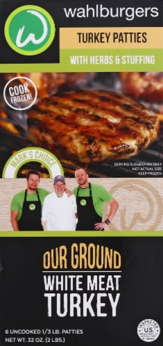 wahlburgers Herbs & Stuffing Turkey Patties 6 Count Perspective: front