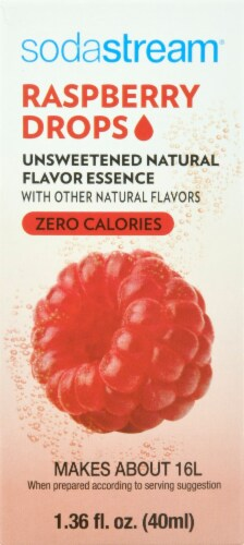 SodaStream Raspberry Drops Unsweetened Natural Flavor Essence Perspective: front