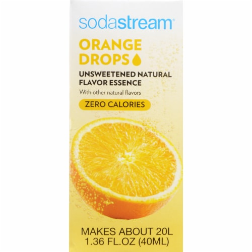 SodaStream Orange Drops Unsweetened Natural Flavor Essence Perspective: front