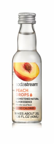 SodaStream Peach Drops Unsweetened Natural Flavor Essense Perspective: front