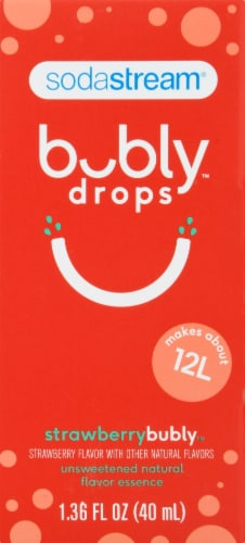 SodaStream bubly drops Unsweetened Natural Flavor Essence Strawberry Sparkling Water Perspective: front