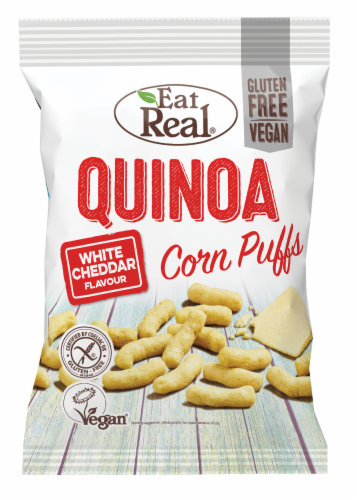 Eat Real White Cheddar Quinoa Corn Puffs Perspective: front