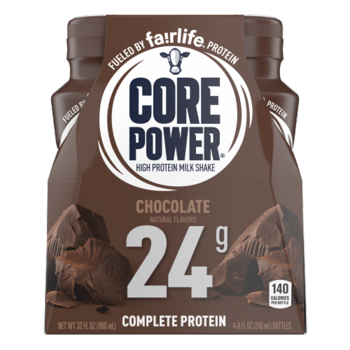 Core Power Chocolate High Protein Milk Shakes Perspective: front