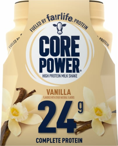 Core Power Vanilla High Protein Milk Shakes Perspective: front