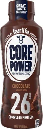 Core Power Chocolate High Protein Milk Shake Perspective: front