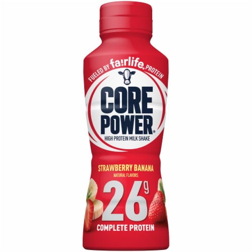 Core Power Strawberry Banana Protein Milk Shake Perspective: front