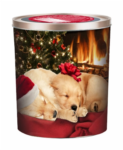 Hickory Farms Sleeping Labs Popcorn Tin Perspective: front