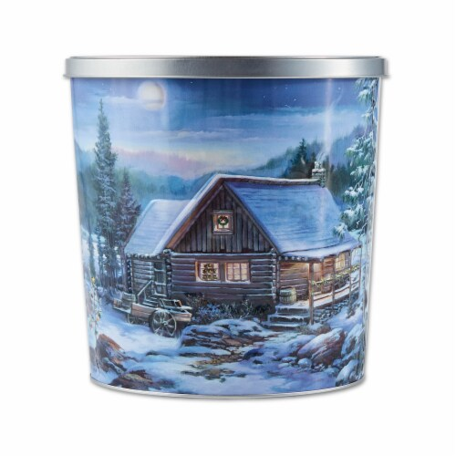 Hickory Farms Winter Retreat Popcorn Tin Perspective: front