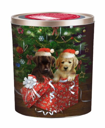 Hickory Farms Holiday Puppies Popcorn Tin Perspective: front