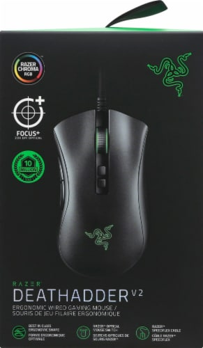 Razer DeathAdder V2 Wired Gaming Mouse - Black/Green Perspective: front