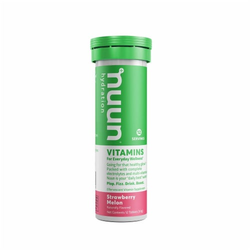 Nuun Hydration Strawberry Melon Effervescent Vitamin Supplement Tablets Perspective: front