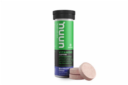 Nuun Hydration + Caffeine Blackberry Citrus Effervescent Vitamin Supplement Tablets Perspective: front