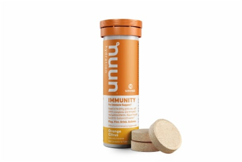 Nuun Hydration Immunity Orange Citrus Effervescent Supplement Tablets Perspective: front