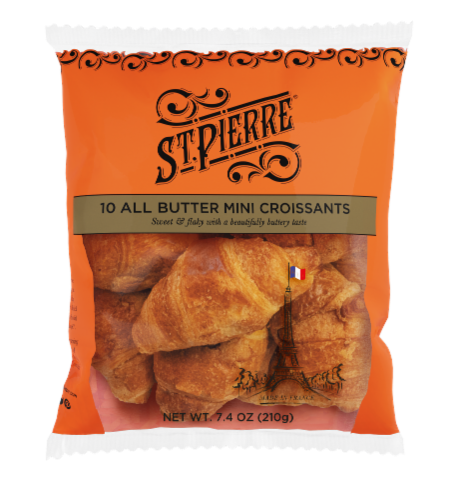 St Pierre French Bakery All Butter Mini Croissants 10 Count Perspective: front