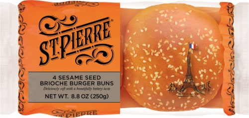 St Pierre Brioche Burger Buns with Sesame Seeds Perspective: front