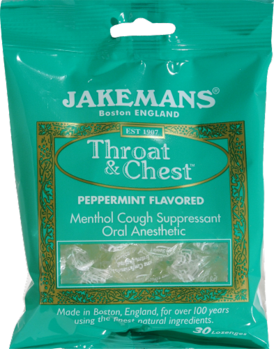 Jakemans Peppermint Throat and Chest Lozenges Perspective: front