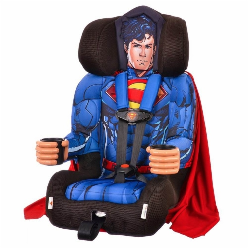 Kids Embrace DC Comics Superman Combination Harness Booster Car Seat with Cape Perspective: front