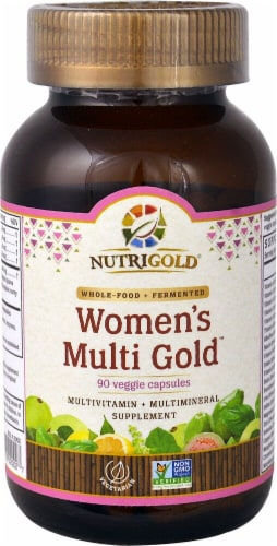 NutriGold Whole-Food Women's Multi Gold Veggie Capsules Perspective: front