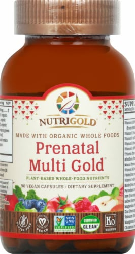 NutriGold Organic Prenatal Multi Gold Dietary Supplement Perspective: front