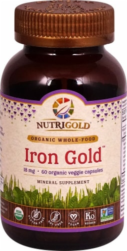 NutriGold Iron Gold Vegetarian Caps 18mg Perspective: front