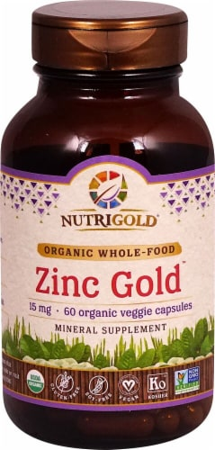 NutriGold Zinc Gold Veggie Capsules 15mg Perspective: front