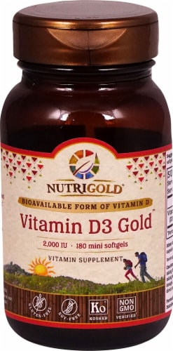 NutriGold Vitamin D3 Gold Softgels 2000iu Perspective: front