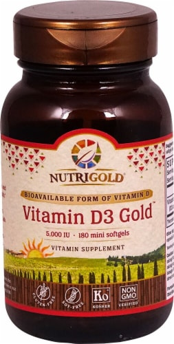 NutriGold Vitamin D3 Gold Softgels 5000iu Perspective: front