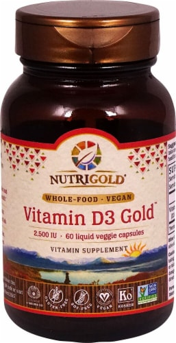 NutriGold Vitamin D3 Gold Veggie Capsules 2500mcg Perspective: front