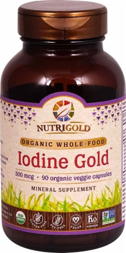 NutriGold Iodine Gold Veggie Capsules 300mcg Perspective: front