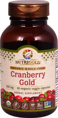 NutriGold Cranberry Gold Veggie Capsules 500mg Perspective: front