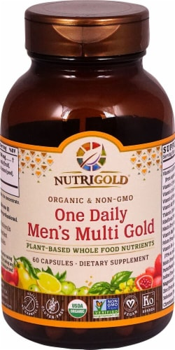 NutriGold Organic One Daily Men's Multi Gold Capsules Perspective: front