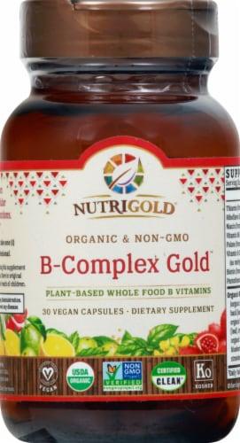 NutriGold Organic Non-GMO B-Complex Gold Capsules Perspective: front