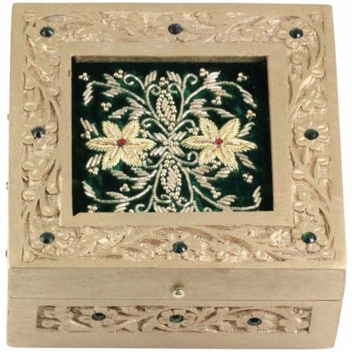 Handmade Mango Wood Jewelry Box With Zari Work On Green Velvet By Benzara Perspective: front