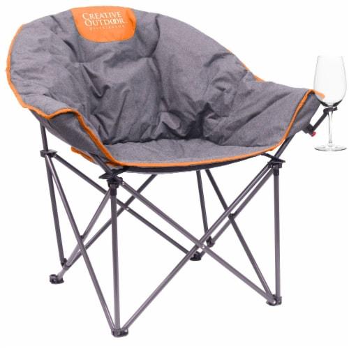 Creative Outdoor Folding Bucket Wine Chair - Gray/Orange Perspective: front
