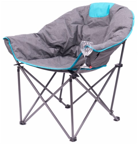 Creative Outdoor Folding Bucket Wine Chair - Gray/Teal Perspective: front