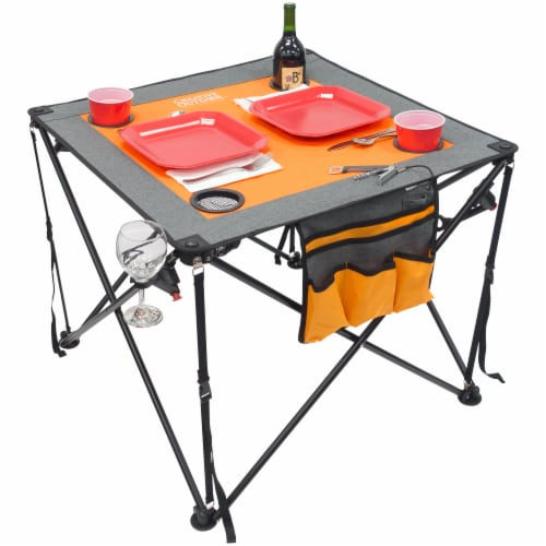 Creative Outdoor Folding Wine Table - Orange/Gray Perspective: front