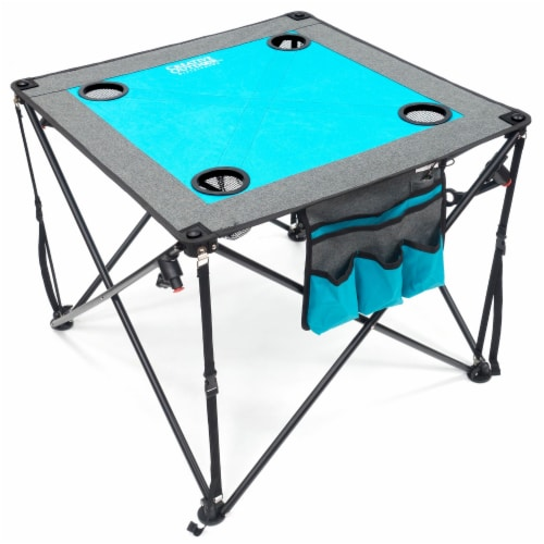 Creative Outdoor Folding Wine Table - Teal/Gray Perspective: front