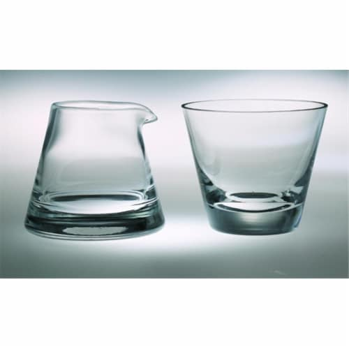 Majestic Gifts Classic clear High Quality Glass Cream And Sugar Set Perspective: front