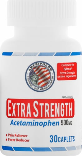 AmeriPharm Extra Strength Acetaminophen Tablets 500mg Perspective: front