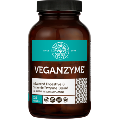 Global Healing VeganZyme Digestive Enzyme Blend Dietary Supplement Capsules Perspective: front