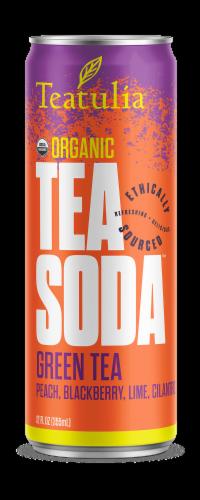 Teatulia Peach Blackberry Lime Cilantro Green Tea Soda Perspective: front
