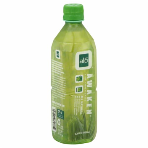 Alo Awaken Aloe & Wheatgrass Drink Perspective: front