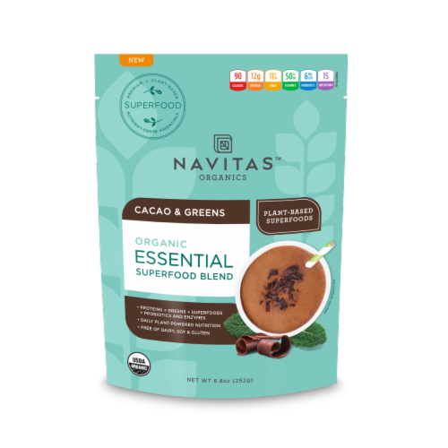 Navitas Organics Cacao and Greens Essential Superfood Blend Perspective: front