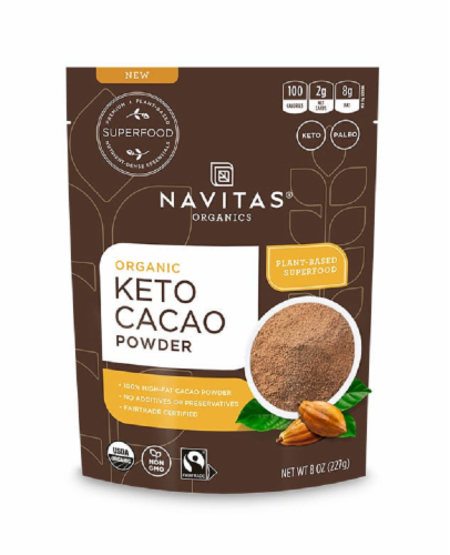Navitas Organics Keto Cacao Supplement Powder Perspective: front