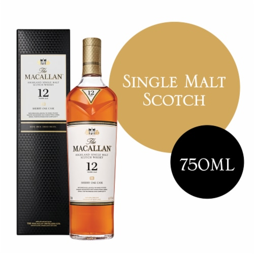 Macallan 12 Year Highland Single Malt Scotch Whisky Perspective: front