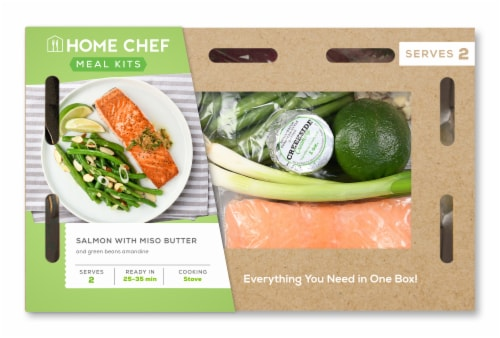 Home Chef Meal Kit Salmon With Miso Butter And Green Beans Amandine Perspective: front