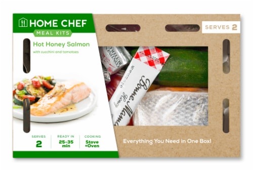 Home Chef Meal Kit Hot Honey Salmon With Zucchini And Tomatoes Perspective: front